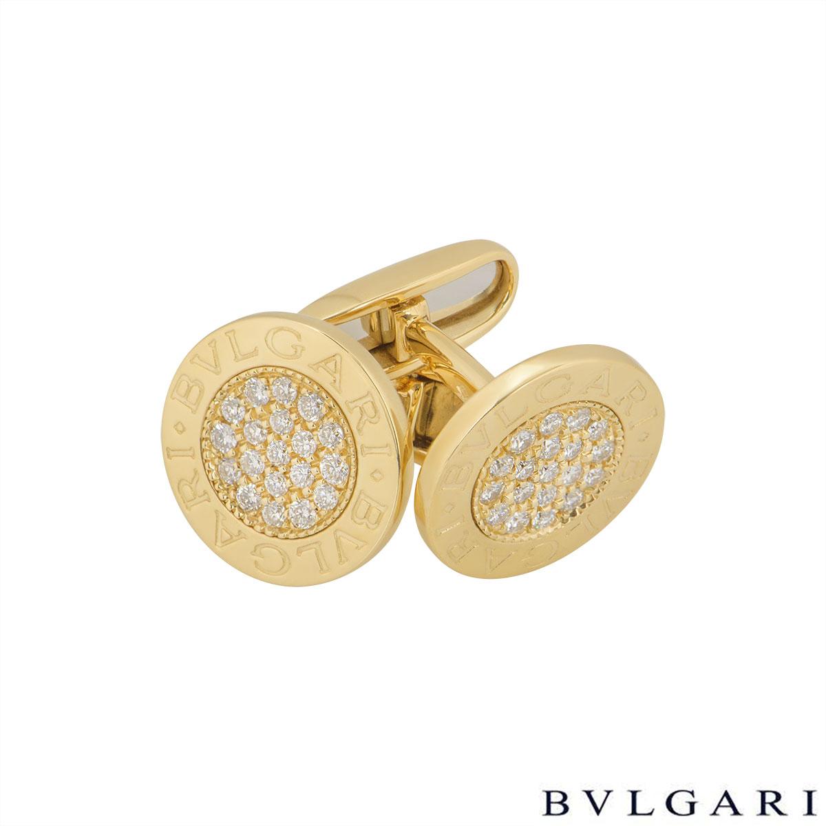 Bvlgari Yellow Gold Bvlgari Bvlgari Diamond Cufflinks